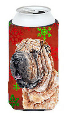 Shar Pei Red Snowflakes Holiday Tall Boy Beverage Insulator Hugger