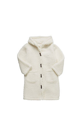 New Girls Faux Shearling Hooded Dressing Gown Robe size 11-12 Years cream colour