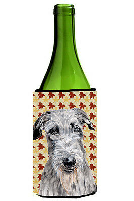 Scottish Deerhound Fall Leaves Wine Bottle Beverage Insulator Hugger