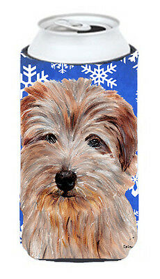 Norfolk Terrier Winter Snowflakes Tall Boy Beverage Insulator Hugger