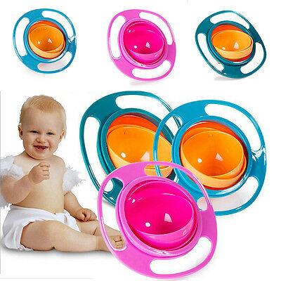 Non Spill Feeding SD Toddler Gyro Bowl 360 Rotating Baby Avoid Food Spilling G
