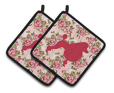 Poodle Shabby Chic Pink Roses  Pair of Pot Holders