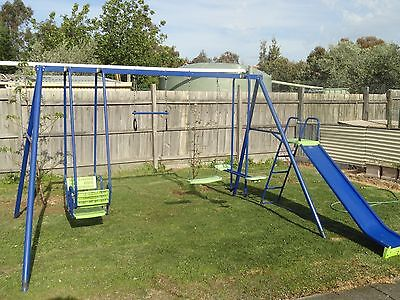 Hills Playtime Swing Set - 4 Bay With Slide - Blue & Green - New & Used Combo