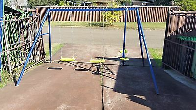 Hills Playtime Swing Set-3 Bay - Blue & Green Or Green & Yellow - New/used Combo