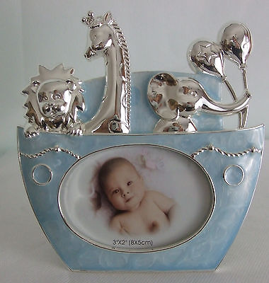 """Silver Plated Baby Boy Photo Frame in Blue Noahs Ark Boat photo size 3"""" x 2"""""""