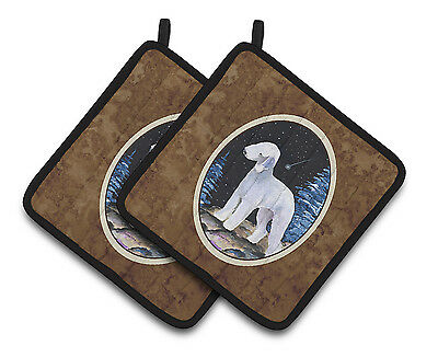 Starry Night Bedlington Terrier Pair of Pot Holders
