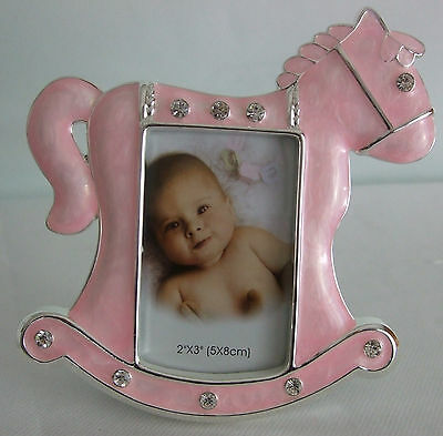 """Silver Plated Baby Girl Photo Frame in Pink Rocking Horse photo size 2"""" x 3"""""""