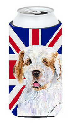 Clumber Spaniel with English Union Jack British Flag Tall Boy Beverage Insulator