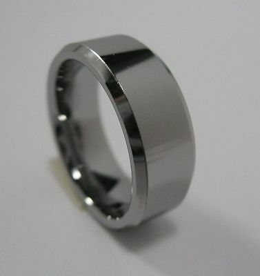 Wedding Band Tungsten Carbide Ring 6mm 7mm 8mm 10mm Shiny Beveled Edge Size 5-15