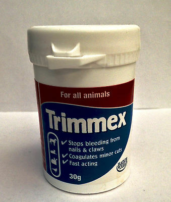 Vets Chemical Nail Sealer TRIMMEX 30g powder stops cut dogs cats nails bleeding