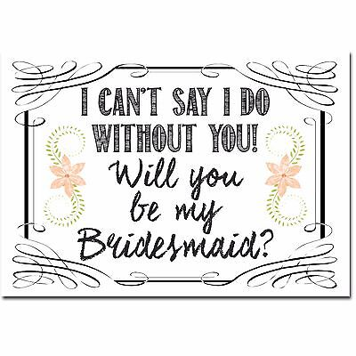Will you be my Bridesmaid Maid of Honour white bottle label sticker UK FREE POST