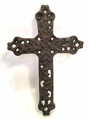 Cross Crucifix Cast Iron Wall Hanging New Vintage Floral Style Decor