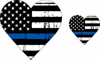 Tattered Police Wife / Police Girlfriend Blue Line Heart Flag Decal x 2