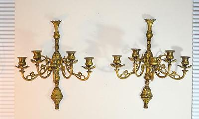 Pair LARGE Cast Brass 5 CANDLE Wall Sconces Candelabra French Style Ornate!