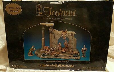 NIB MK Fontanini Heirloom Nativity Lighted Greco Roman Stable only 50543