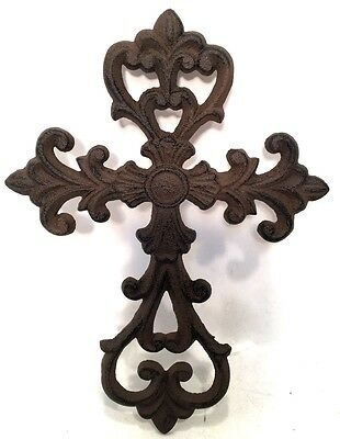 Cross Crucifix Cast Iron Wall Hanging New Vintage Style Filigree Home Decor