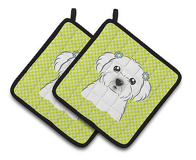 Checkerboard Lime Green Maltese Pair of Pot Holders