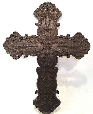 Cross Crucifix Cast Iron Wall Hanging New Vintage Floral & Filigree Home Decor