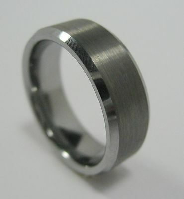 Men's Fashion Tungsten Carbide Ring Band 8 mm Brushed Beveled Edge Size 7.5 - 14