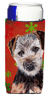 Norfolk Terrier Puppy Red Snowflakes Holiday Ultra Beverage Insulators for slim