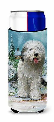 Old English Sheepdog by Don Squires Ultra Beverage Insulators for slim cans
