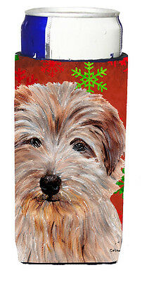 Norfolk Terrier Red Snowflakes Holiday Ultra Beverage Insulators for slim cans