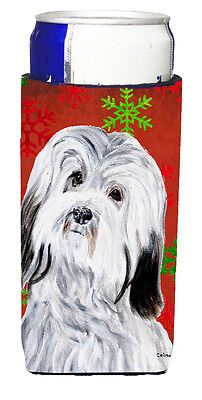 Havanese Red Snowflakes Holiday Ultra Beverage Insulators for slim cans