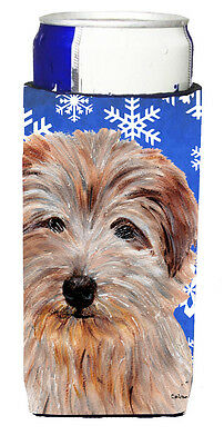 Norfolk Terrier Winter Snowflakes Ultra Beverage Insulators for slim cans