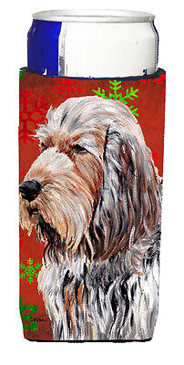 Otterhound Red Snowflakes Holiday Ultra Beverage Insulators for slim cans