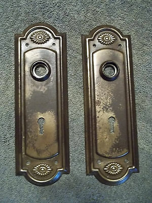 Matching Pair, Attractive Early 1900's Steel Door Knob Backplates, Free S/H