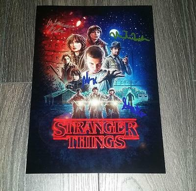 "Stranger Things Cast X4 Pp Signed 12""x8"" A4 Photo Poster Winona Ryder Modine"