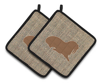 Walrus Faux Burlap and Brown   Pair of Pot Holders