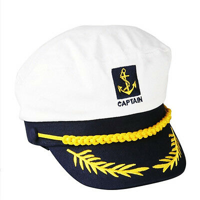Adult Skipper Ship Navy Sailor Cap Yacht Nautical Military Captain Hat Costume
