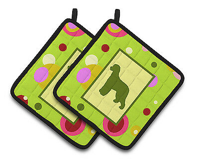 Lime Green Dots Irish Water Spaniel Pair of Pot Holders