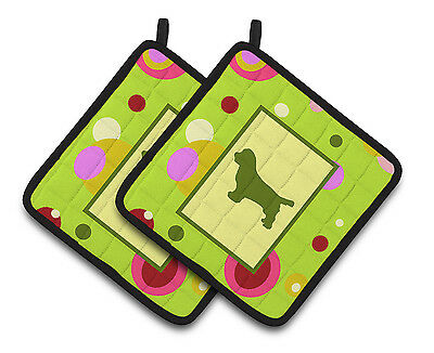 Lime Green Dots Sussex Spaniel Pair of Pot Holders