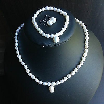 Real Freshwater Pearl Necklace Bracelet Earring Set S925 silver Bridesmaide gift