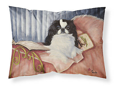 Japanese Chin Reading in Bed Fabric Standard Pillowcase