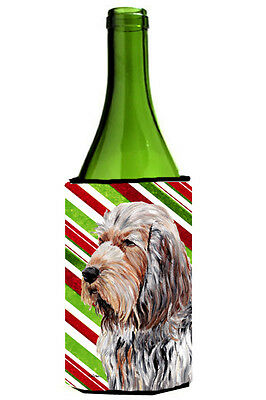 Otterhound Candy Cane Christmas Wine Bottle Beverage Insulator Hugger