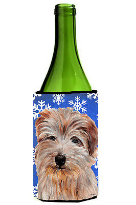 Norfolk Terrier Winter Snowflakes Wine Bottle Beverage Insulator Hugger