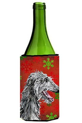 Scottish Deerhound Red Snowflakes Holiday Wine Bottle Beverage Insulator Hugger