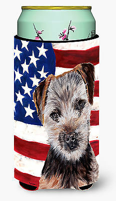 Norfolk Terrier Puppy with American Flag USA Tall Boy Beverage Insulator Hugger