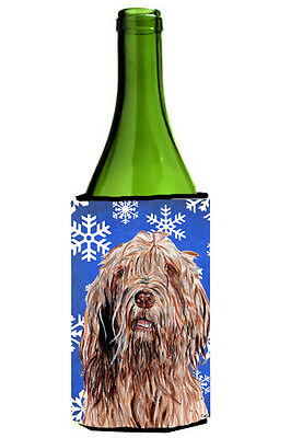 Otterhound Winter Snowflakes Wine Bottle Beverage Insulator Hugger