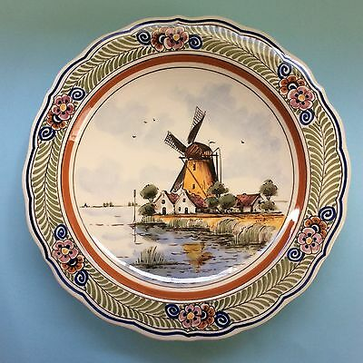 VINTAGE DELFT POLYCHROME DISPLAY PLATE Windmill Holland Signed Wall hanger