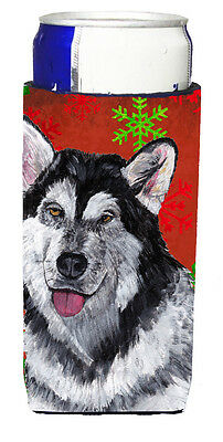Alaskan Malamute Red Snowflakes Holiday Christmas  Ultra Beverage Insulators for