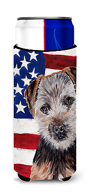 Norfolk Terrier Puppy with American Flag USA Ultra Beverage Insulators for slim