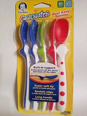 NUK Gerber Graduates Rest Easy Spoons, 5-Count, BPA and PVC Free Assorted colors