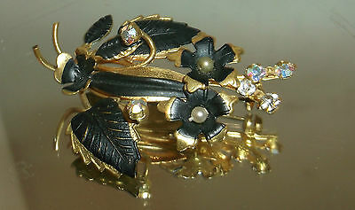 Antique mourning Rhinestone Floral Bouquet Made in Austria Pin / Brooch