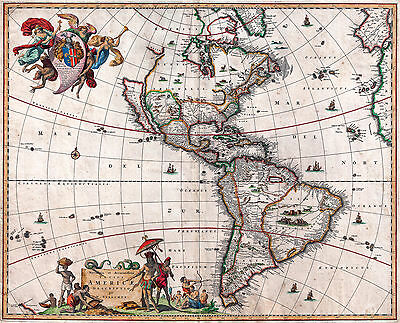 Antique Map North & South America Vintage 1658 Fade Resistant HD Print or Canvas