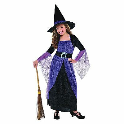Girls Pretty Potion Witch Halloween Fancy Dress Costume Outfit DRESS + HAT