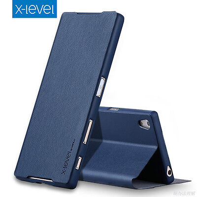 Top luxury slim Genuine Leather Stand flip Wallet Cover UP Case For Sony Xperia